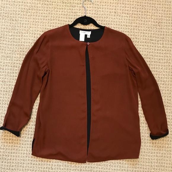 58be29afa6e Coldwater Creek Jackets & Coats | Reversible Silk Jacket Brownblack ...